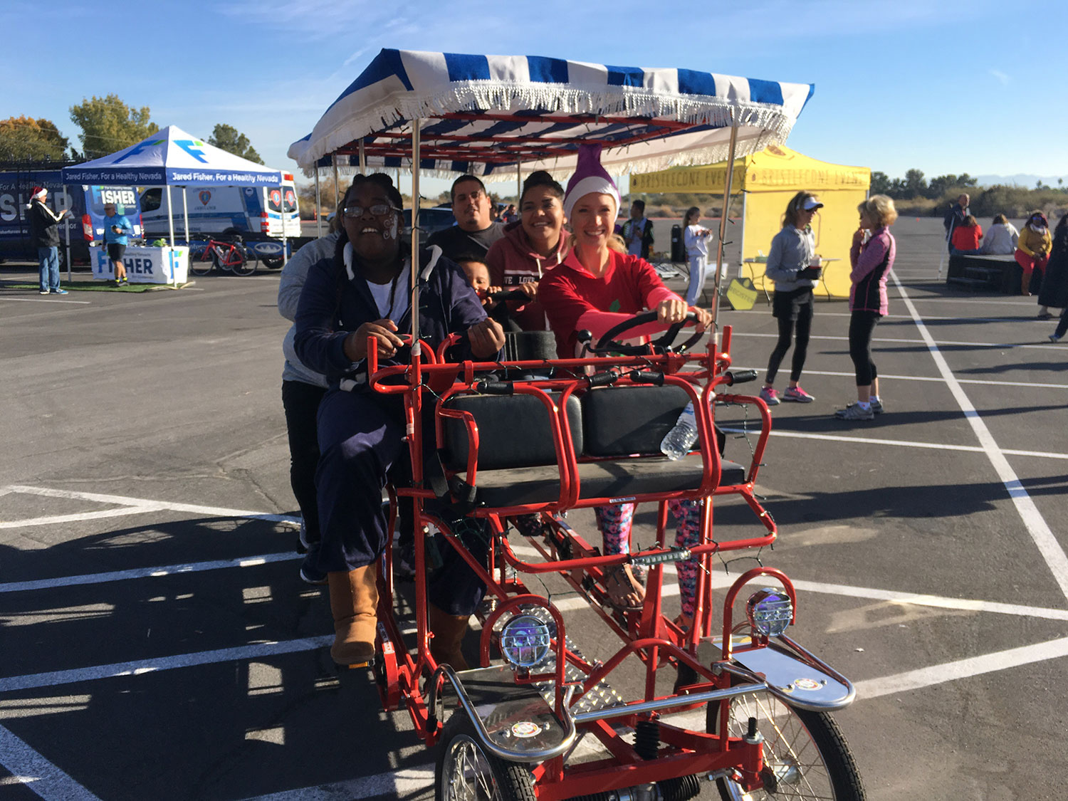 Families take turns riding the Fisher for Nevada bike